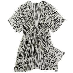 Womens Tie Dye Stripe Kimono Swim Cover-Up