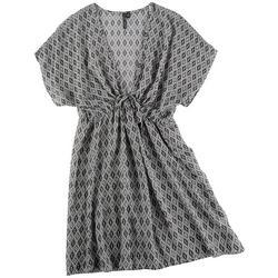 Womens Diamond Print Kimono Swim Cover-Up