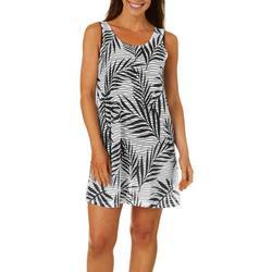 Womens Palm Print Sleeveless Swim Cover-Up