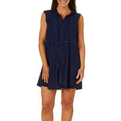 Womens Textured Stripe Hooded Swim Cover-Up