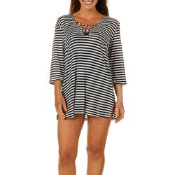 Pacific Beach Womens Striped Lace Front Swim Cover-Up