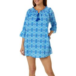 Womens Smocked Neck Sheer Swim Cover-Up