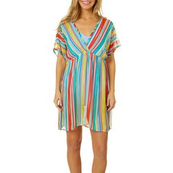 Pacific Beach Womens Lace Up Stripe Swim Cover-Up
