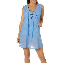 Pacific Beach Womens Lace Up Neck Sleeveless Swim Cover-Up