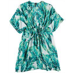 Pacific Beach Womens Sheer Kimono Palm Print Swim Cover-Up