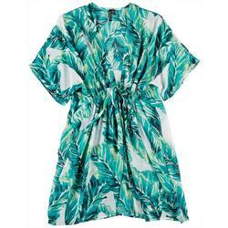 Womens Sheer Kimono Palm Print Swim Cover-Up