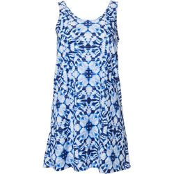 Pacific Beach Womens Tie Dye Lattice Back  Dress Cover Up