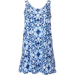 Womens Tie Dye Lattice Back  Dress Cover Up