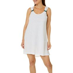 Womens Solid Ring Detail Swim Cover-Up