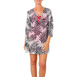 Pacific Beach Womens Palm Print Sheer Stripe Swim Cover-Up