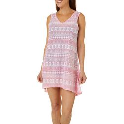 Pacific Beach Womens Crochet Look Keyhole Back Swim Cover-Up