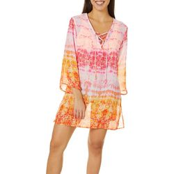 Pacific Beach Womens Tie Dye Madala Sheer Swim Cover-Up