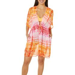 Pacific Beach Womens Tie Dye Mandala Kimono Dress Cover Up