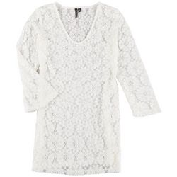 Pacific Beach Womens Solid Crochet Cover Up