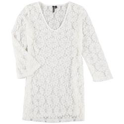 Womens Solid Crochet Cover Up