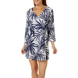 Pacific Beach Womens Palm Print Mid Sleeve Swim Cover-Up