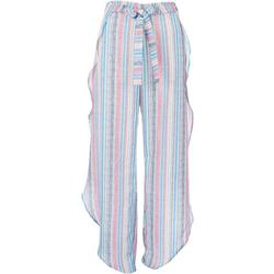 Womens Striped Wrap Look  Cover-Up Pants