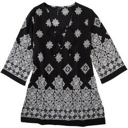 Womens Mandala Print 3/4 Sleeve Dress Cover-Up