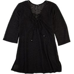 Pacific Beach Womens Crochet Laced Neck Dress Cover Up