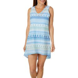 Pacific Beach Womens Ombre Geo Sleeveless Swim Cover-Up