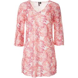 Pacific Beach Womens Monstera Leaf Mid Sleeve Swim Cover-Up