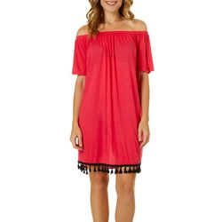 Hawaiian Tropic Off The Shoulder Tassel Hem Dress Cover-Up