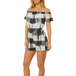 Hawaiian Tropic Womens Tie Dye Stripe Romper Cover-Up