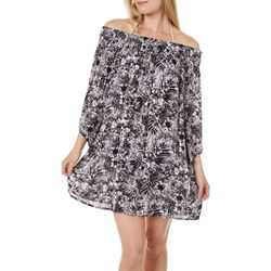 Womens Tropical Off Shoulder Swim Cover-Up