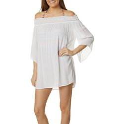 Hawaiian Tropic Womens Solid Off Shoulder Swim Cover-Up