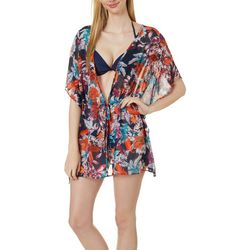 Hawaiian Tropic Womens Iris Printed Kimono Cover-Up
