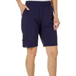 Womens Mesh Insert Solid Shorts