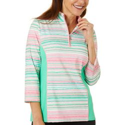 Ruby Road Striped 3/4 Sleeve Workout Jacket