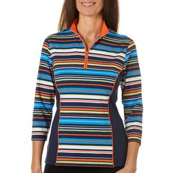 Ruby Road Golf Womens Stripe Colorblock Polo Shirt