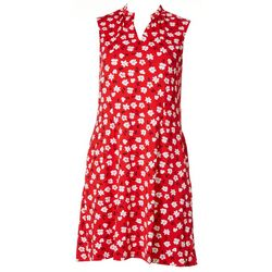 Sport Haley Womens Floral Split Neck Golf Dress