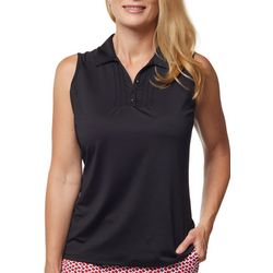 Sport Haley Womens Solid Button Sleeveless Golf Polo