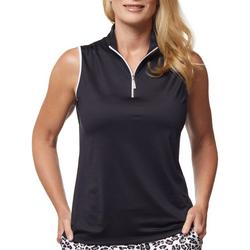 Womens Black With White Lining Golf Tank Top