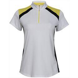Bette & Court Womens Colorblock Zippered Polo Golf Shirt