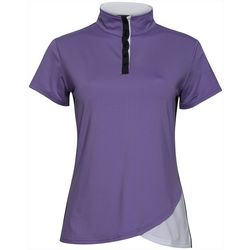 Bette & Court Womens Pinot Mock Neck Short Sleeve Golf Polo