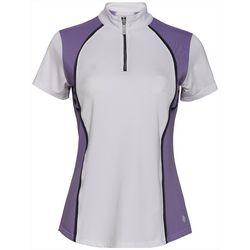 Bette & Court Womens Colorblock Zip Placket Polo Golf Shirt
