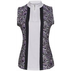Bette & Court Womens Scroll Print Sleeveless Polo