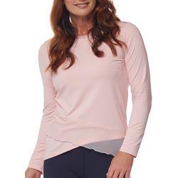 Reel Legends Womens Solid V-Neck Long Sleeve Top