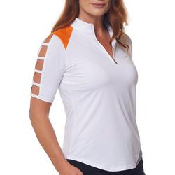 Womens Solid Short Sleeve Polo With Slits