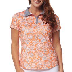 Bette & Court Womens Paisley Pattern Polo Shirt