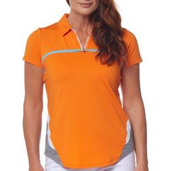 Womens Solid Short Sleeve 1/4 Zip Top