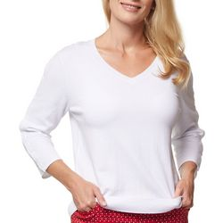 Sport Haley Womens Solid V Neck 3/4 Sleeve Top