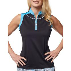 Womens Black With Blue Lining Tank Top