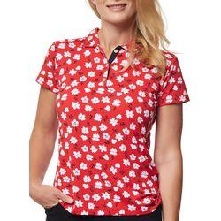 Sport Haley Womens Flower Printed Short Sleeve Golf Polo