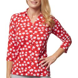 Jessica Simpson Womens Active Printed 3/4 Sleeve Top