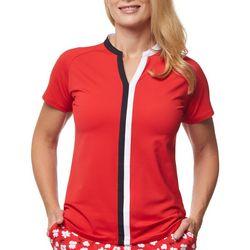 Sport Haley Womens Multi Pattern Short Sleeve Top