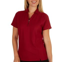 Womens Pique Solid Zippered Placket Polo Shirt